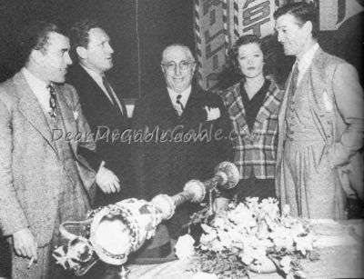 Celebrating his 37th birthday with Ed Sullivan, Spencer Tracy, Louis B. Mayer and Myrna Loy