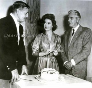 Celebrating is 54th birthday with Susan Hayward and producer Buddy Adler on the set of Soldier of Fortune