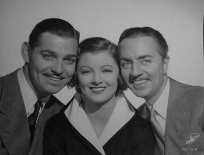 Not a bad place to be: Myrna sandwiched between Clark and William Powell in Manhattan Melodrama