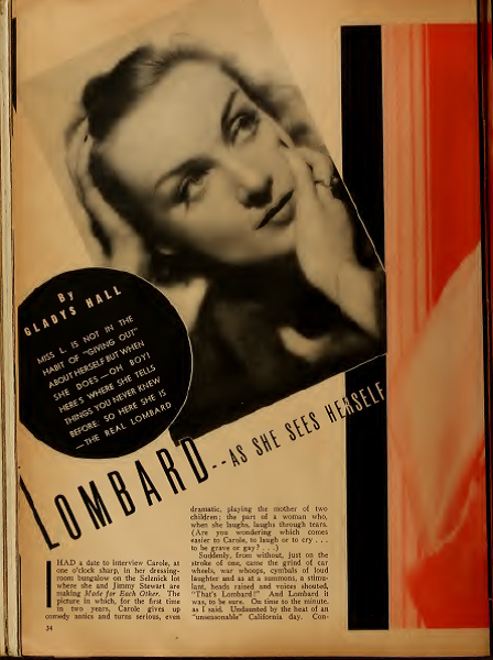 carole lombard as she sees herself 1938