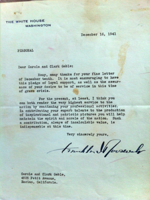 Very sincerely yours franklin d roosevelt dear mr gable clark gable carole lombard letter franklin roosevelt spiritdancerdesigns Choice Image