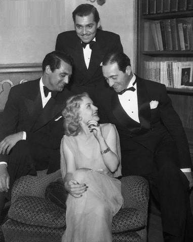 Cary Grant, Clark Gable, Ricardo Cortez and Carole Lombard at a party, May 26, 1935