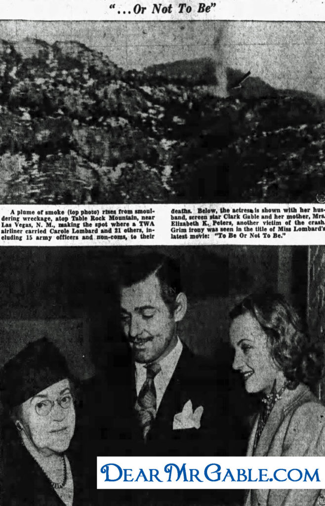 clark gable carole lombard elizabeth peters plane crash