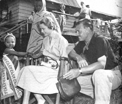 Grace Kelly and Clark Gable on the set of Mogambo