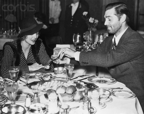 Loretta Young and Clark Gable out to dinner in Seattle during filming of Call of the Wild