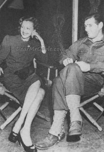 Virginia Grey and Clark Gable on the set of Homecoming